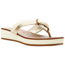 Buy Dune Jennys Low Wedge Leather Toe Post Sandals, White Leather Online at johnlewis.com
