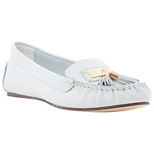 Buy Dune Lotus Leather Loafers, White Online at johnlewis.com