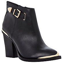 Buy Steve Madden Partnir Leather Metal Trim Ankle Boots, Black Online at johnlewis.com
