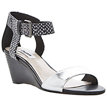 Buy Dune Ginni  Leather Wedge Heeled Sandals, Black Online at johnlewis.com