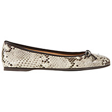 Buy Hobbs Prior Square Toe Leather Ballerina Pumps, Snake Online at johnlewis.com