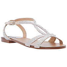 Buy Steve Madden Starrz Embellished Strap Sandals, Silver Online at johnlewis.com