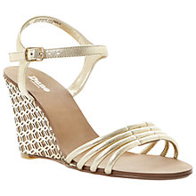 Buy Dune Hath Leather Wedge Heeled Sandals, Champagne Online at johnlewis.com