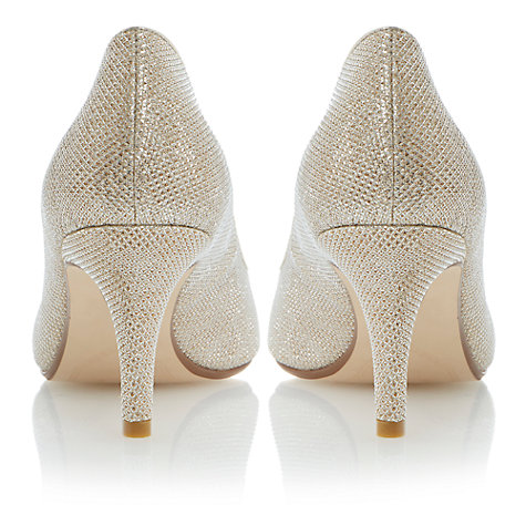 Buy Dune Amelia Fabric Court Heels, Gold Online at johnlewis.com