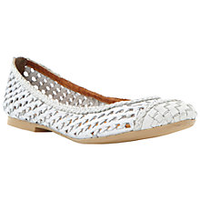 Buy Dune Madalyn Leather Ballerinas, Silver Online at johnlewis.com