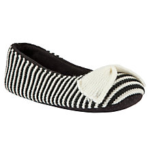 Buy John Lewis Soprano Stripe Ballet Slippers, Black/ Cream Online at johnlewis.com