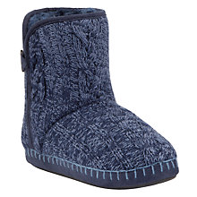 Buy John Lewis Clover Button Boot Slipper, Navy Online at johnlewis.com