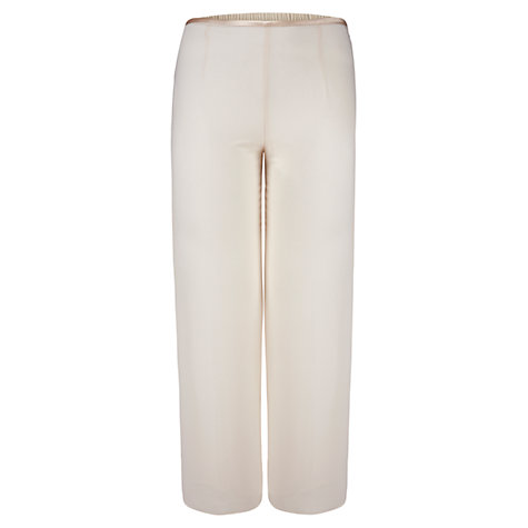 Buy Chesca Satin Trim Chiffon Trousers, Cream Online at johnlewis.com