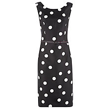Buy Planet Spot Print Belted Shift Dress, Black/White Online at johnlewis.com