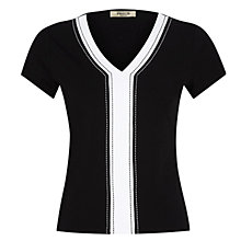 Buy Precis Petite Stitch Detail Top, Black Online at johnlewis.com