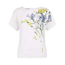 Buy Hobbs Invitation Freesia Silk Top, White Multi Online at johnlewis.com