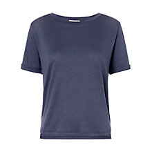 Buy Whistles Ella Roll Cuff T-Shirt, Navy Online at johnlewis.com