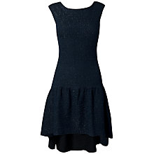 Buy Almari Lurex Pephem Dress, Navy Online at johnlewis.com