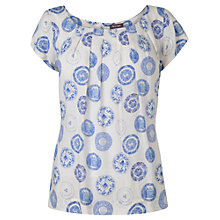 Buy Phase Eight Margot Plate Print Top, Ivory/Blue Online at johnlewis.com