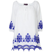 Buy Phase Eight Justine Blouse, Periwinkle/White Online at johnlewis.com
