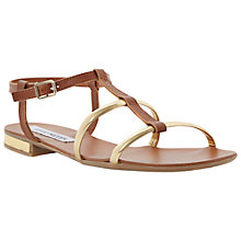 Buy Steve Madden Suave Leather Flat Sandals, Tan Online at johnlewis.com
