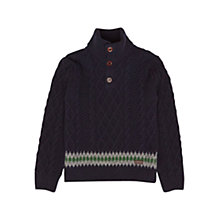 Buy Barbour Boys' Kirk Half Button Knit Jumper, Navy Online at johnlewis.com