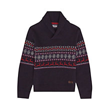 Buy Barbour Boys' Lewis Shawl Neck Knit Jumper, Navy Online at johnlewis.com