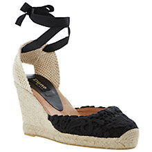 Buy Dune Black Lambo Lace Detail Espadrille Wedge Sandals, Black Online at johnlewis.com