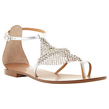 Buy Dune Kair Diamante Toe Ring Sandals, Silver Online at johnlewis.com