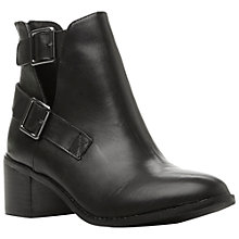 Buy Dune Peeper Cut Out Block Heel Leather Ankle Boots, Black Online at johnlewis.com
