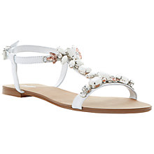 Buy Dune Khloe T-Bar Embellished Leather Strappy Flat Sandals Online at johnlewis.com