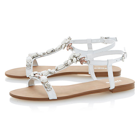 Buy Dune Khloe T-Bar Embellished Strappy Flat Sandals Online at johnlewis.com