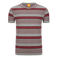 Buy BOSS Orange Teeman Stripe T-Shirt, Red/Grey Online at johnlewis.com
