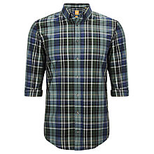 Buy BOSS Orange Edipoe Check Shirt, Green/Blue Online at johnlewis.com