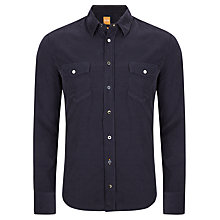 Buy BOSS Orange Edaslime Long Sleeve Shirt, Navy Online at johnlewis.com