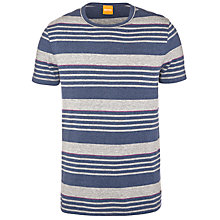 Buy BOSS Orange Teeman Stripe T-Shirt, Blue/Grey Online at johnlewis.com