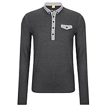 Buy BOSS Orange Patchman Long Sleeve Polo Shirt, Charcoal Online at johnlewis.com