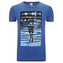 Buy BOSS Orange Tennents Crew Neck T-Shirt, Bright Blue Online at johnlewis.com