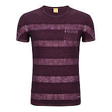 Buy BOSS Orange Touch Striped T-Shirt, Burgundy Online at johnlewis.com