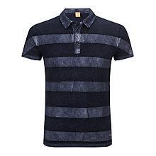 Buy BOSS Orange Poem Stripe Polo Shirt, Blue Online at johnlewis.com