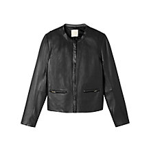 Buy Gérard Darel Collarless Leather Jacket, Black Online at johnlewis.com