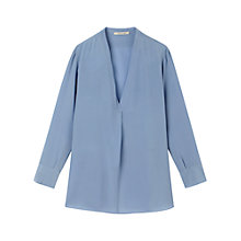Buy Gérard Darel Silk V-Neck Blouse, Blue Online at johnlewis.com