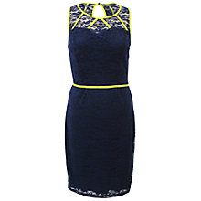 Buy Sugarhill Boutique Louis Dress, Navy/Neon Yellow Online at johnlewis.com