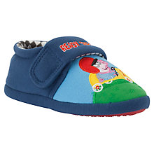 Buy George Pig Racing Childrens' Slippers, Blue/Multi Online at johnlewis.com