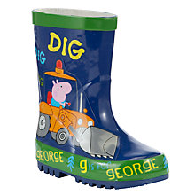 Buy Digger George Peppa Pig Wellington Boots, Blue/Multi Online at johnlewis.com