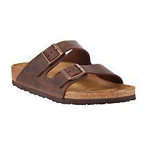 Buy Birkenstock Arizona Men's Sandals, Dark Brown Online at johnlewis.com