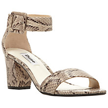 Buy Dune Fri Block Heeled Sandals, Natural Reptile Online at johnlewis.com