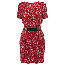 Buy Warehouse Ditsy Skater Tee Dress, Bright Red Online at johnlewis.com