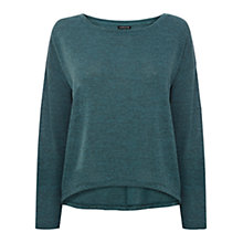 Buy Warehouse Marl Cropped Oversized Top, Aqua Online at johnlewis.com