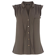 Buy Oasis Frill Front Shirt, Khaki Online at johnlewis.com