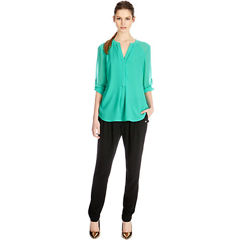 Buy Warehouse Sheer Sleeve Tunic, Bright Green Online at johnlewis.com