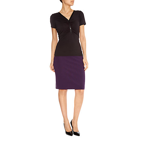 Buy Havren Ruched Front T-Shirt, Black Online at johnlewis.com