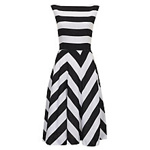 Buy Havren Blocked Stripe Linen Blend Dress, Black/Off White Online at johnlewis.com