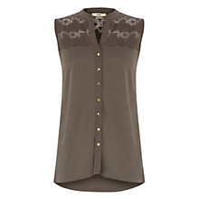 Buy Oasis Lace Yoke Shirt, Khaki Online at johnlewis.com