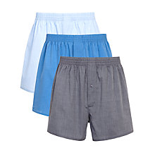 Buy John Lewis Woven Boxer Shorts, Pack of 3, Blue Online at johnlewis.com